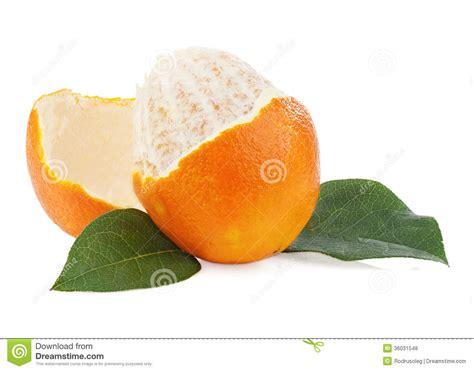 Peeled Orange Fruit With Green Leaves Isolated White