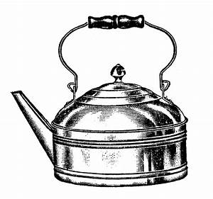 Vintage Kitchen Clip Art - Tea Kettle and Coffee Pots ...