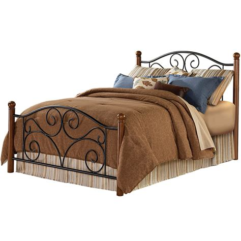 Wrought Iron King Headboard And Footboard by Doral Iron Bed Matte Black Finish And Wooden Walnut Posts