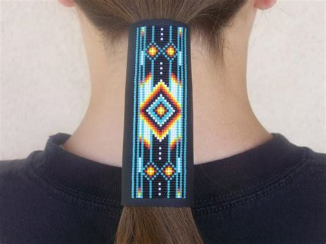 native american beaded cherokee leather hair wrap ljgreywolf