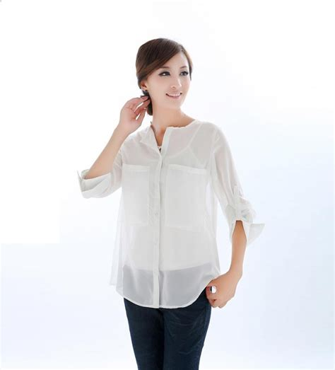 cheap blouses pockets white chiffon shirt womens shirts