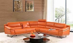 modern orange leather sectional sofa ef533 leather With orange sectional sofa