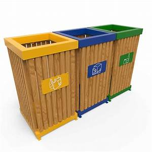 boras poubelle d39exterieur pour tri selectif en bois 50l a With poubelle tri selectif exterieur