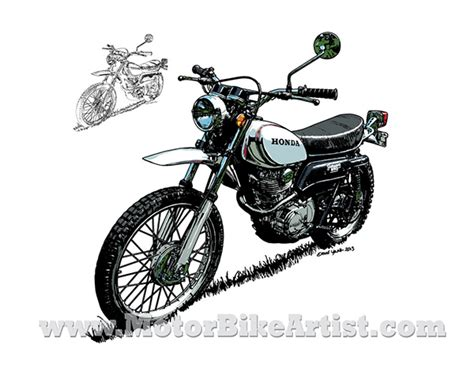 Honda Xl250 Vintage Motorcycle Vector Art Drawing On Wacom