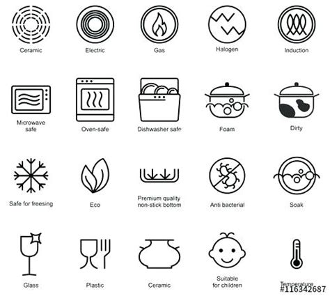 safe dishwasher oven symbols icon cookware vectorified pans