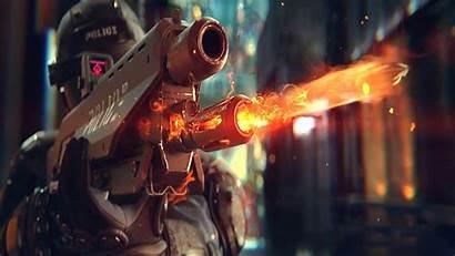 Cyberpunk 2077 Shooting Policeman Rifle Resolution Screen
