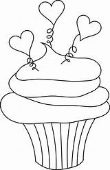 Cupcake Clipart Cupcakes Valentine Coloring Heart Pages Birthday Clip Outline Stamps Digital Hearts Drawing Digi Stamp Cliparts Printable Transparent Valentines sketch template