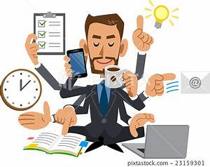 multitask, multitasking, business man - Stock Illustration ...