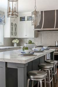 Classic white kitchen with grey backsplash home bunch for Kitchen cabinets lowes with crate and barrel wall art sale