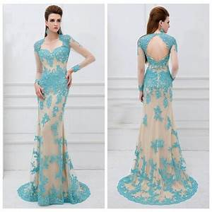 turquoise lace long sleeves pageant prom bridal party gown With long dresses for wedding party