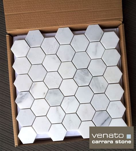 marble hexagon tile 11 75sf carrara venato 2 quot hexagon honed mosaic tile