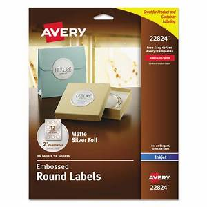 avery round labels 2quot dia silver foil 96 pack walmartcom With avery round labels 2 5 inch