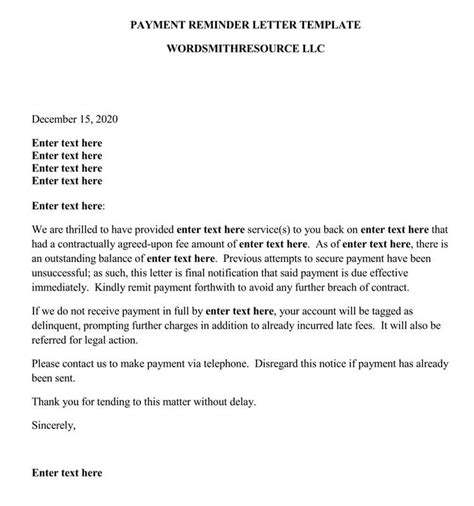 payment reminder letter format  samples examples