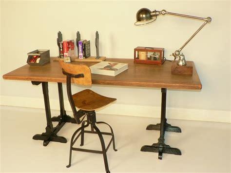bureau planche bureau chene treteaux ancien