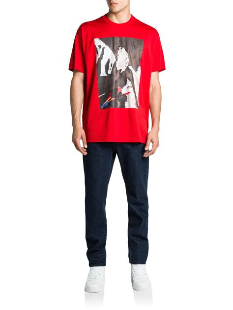 lyst givenchy statue graphic tee  red  men