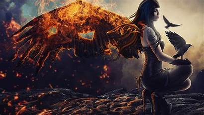 Demon Fantasy Fire Warrior Woman Character Birds