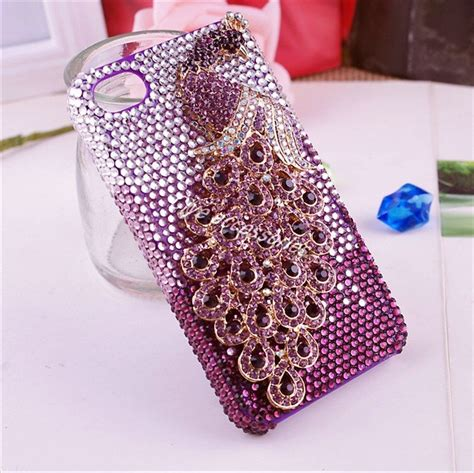 cell phone bling gorgeous peafowl 3d alloy bling cell phone for iphone