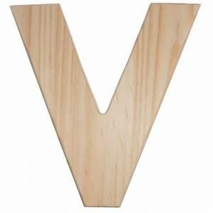 12quot natural wood letter v u0993 v craftoutletcom With natural wood letters