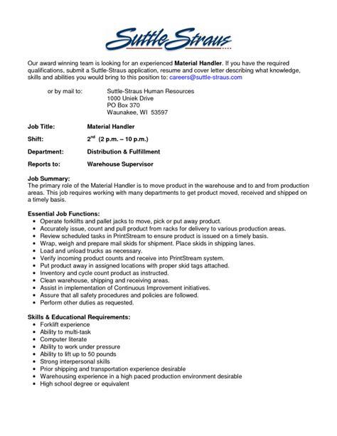 material handler resume exle resume ideas