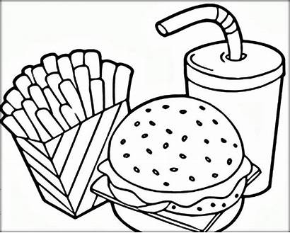 Coloring Fries Hamburger French Pages