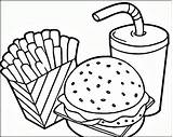 Coloring Pages Hamburger French Fries sketch template