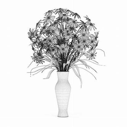 Vase Purple Inspiration Flowers Glass 3docean