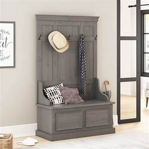 Redvale, Solid, Mahogany, Wood, Grey, Hall, Tree, Bench, With, Storage, -, Rustic, -, Entry