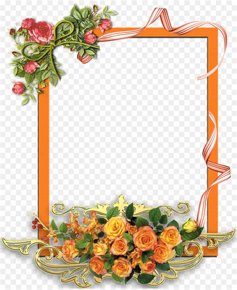 watercolor flowers frame png