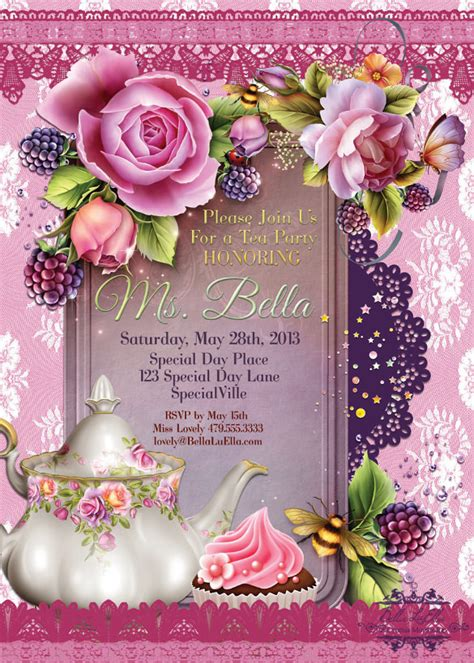 tea party invitation templates   sample
