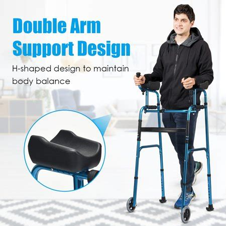 walker armrest costway alloy folding adjustable walking wheel frame support walmart