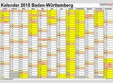 Kalender 2015 BadenWürttemberg Ferien, Feiertage, Excel