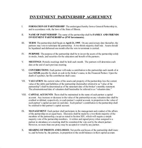 investment agreement templates  sample