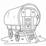 Wagon Gypsy Caravan Colouring Drawing Coloring Drawings Covered Patterns Caravans Paint Bohemian Draw Step Dessin sketch template