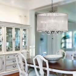 organza silk drum shade chandelier contemporary