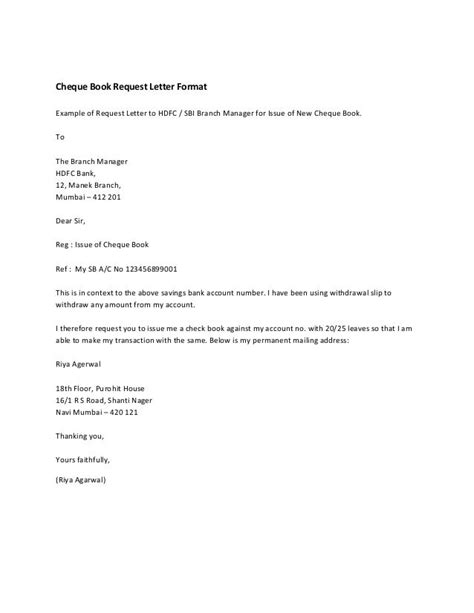 cheque book request letter format   request