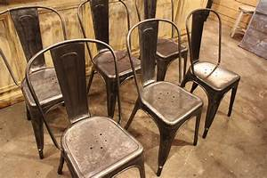 Vintage Industrial Metal Chairs From Tolix  1950s  Set Of