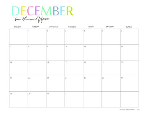 printable  monthly calendar  shiningmomcom
