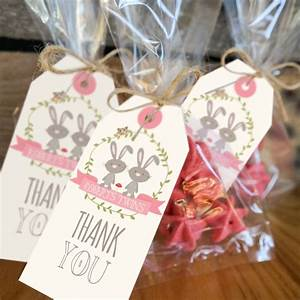 Twin Bunny Baby Shower Favor Tags Woodland Twin Baby
