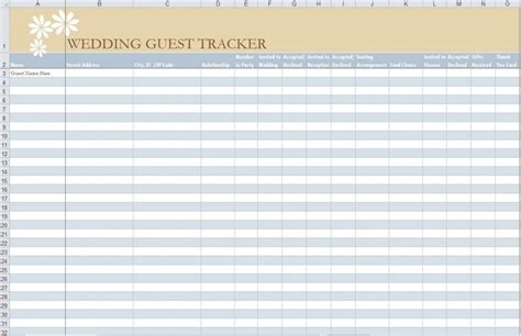 Wedding Guest List Template 7 Free Guest List Templates Excel Pdf Formats