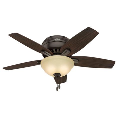 low profile ceiling fan with light hunter newsome 42 in indoor low profile premier bronze