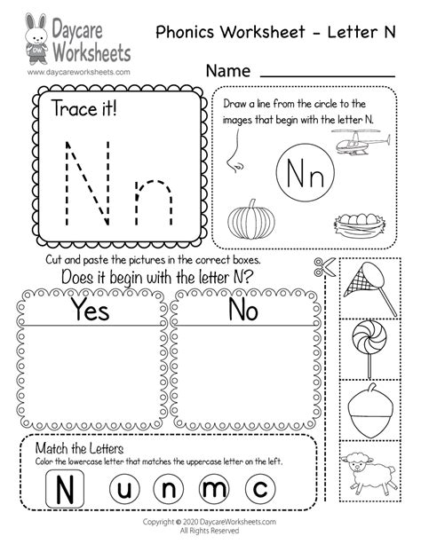 letter  phonics worksheet  preschool beginning