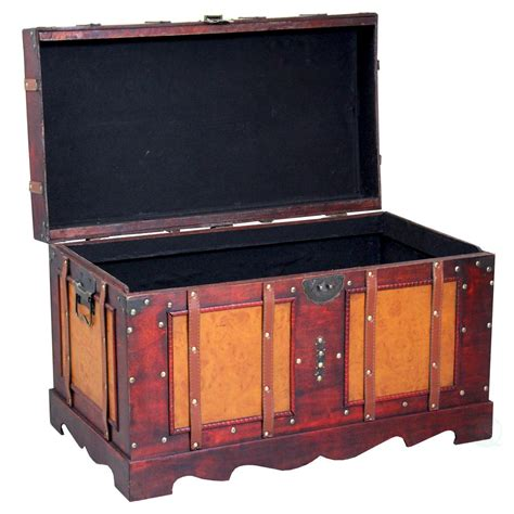 Large Bedroom Trunk by Vintiquewise Large Antique Cherry Style Steamer Trunk