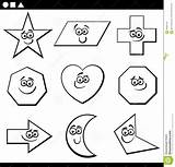 Parallelogram Coloring Shapes Basic Geometric Cartoon Characters Funny Educational sketch template