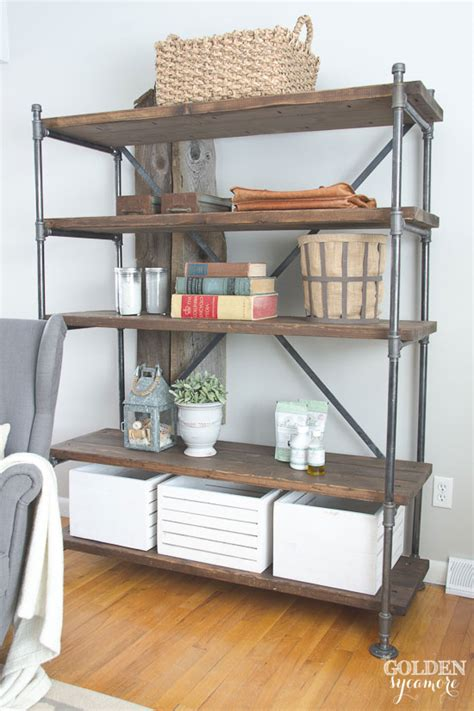 How To Paint Distressed Furniture Black by Industrial Pipe Shelving Unit The Golden Sycamore