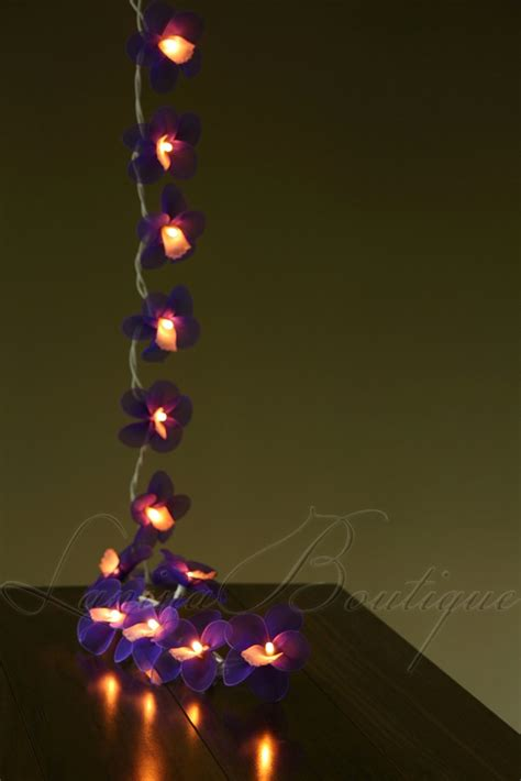 20 purple orchid flower battery operated led string
