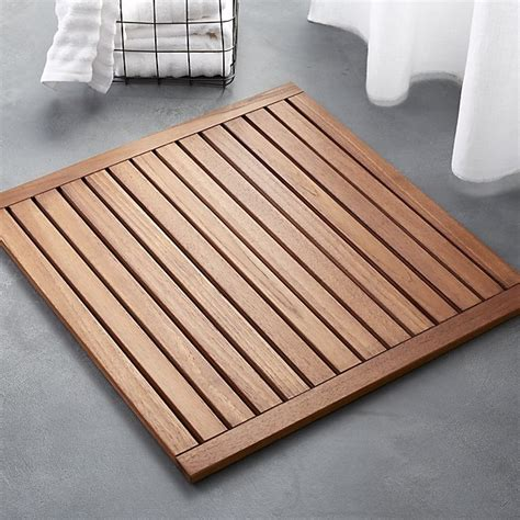 wooden bath mat lateral teak bath mat cb2
