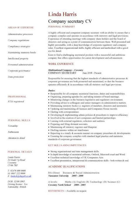 company cv administration cv template free administrative cvs