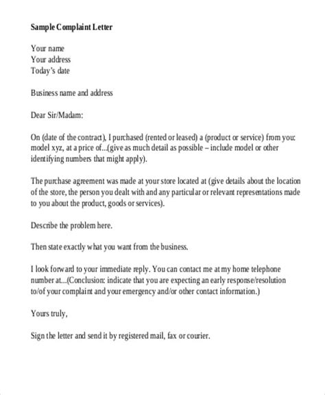 sample business complaint letter  examples  word