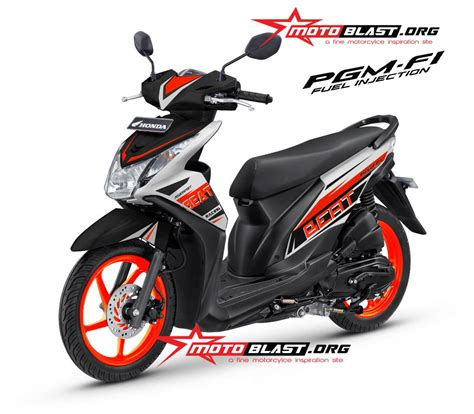 modif decal design honda beat fi black orange ceria