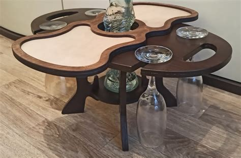 laser cut wine table holder wine caddy single bottle  glasses  vector files cnc